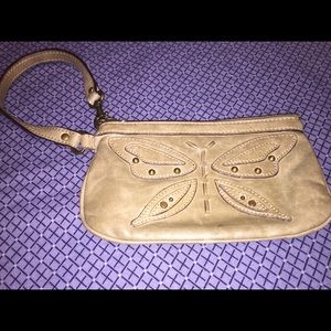 Fossil's Green Leather Studded Butterfly Wristlet